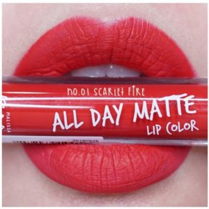 Жидкая Матовая Помада #01 Scarlet Fire Malissa Kiss All Day Matte Lip