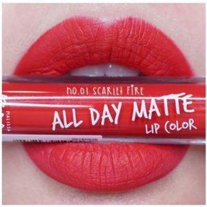Жидкая Матовая Помада #01 Scarlet Fire Malissa Kiss All Day Matte Lip