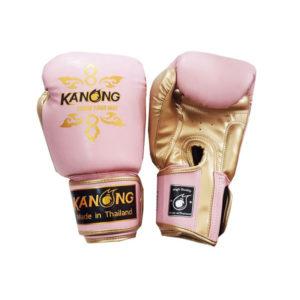 Перчатки для бокса розовые с золотом