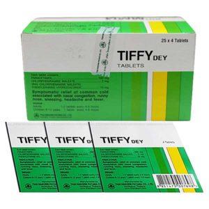 Таблетки Tiffy Dey от гриппа 4 штуки в упаковке, 25 пачек в коробке
